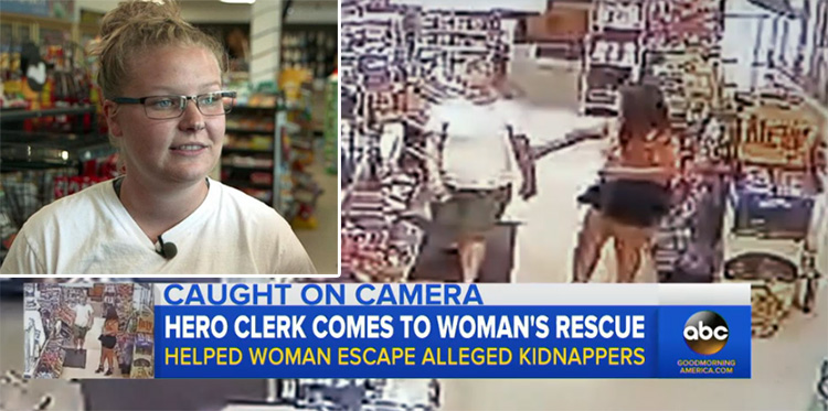 gas station clerk saves woman from kidnappers