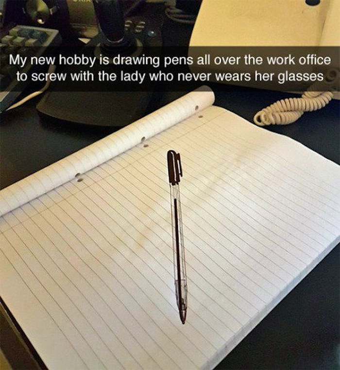 drawing pens around office funny