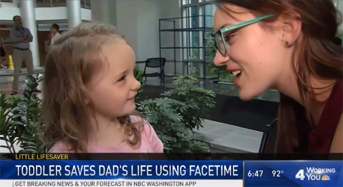 3 year old saves dads life with facetime
