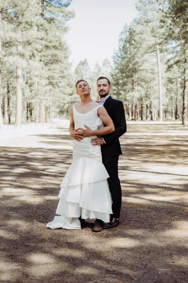 brides brother surprises groom in wedding dress