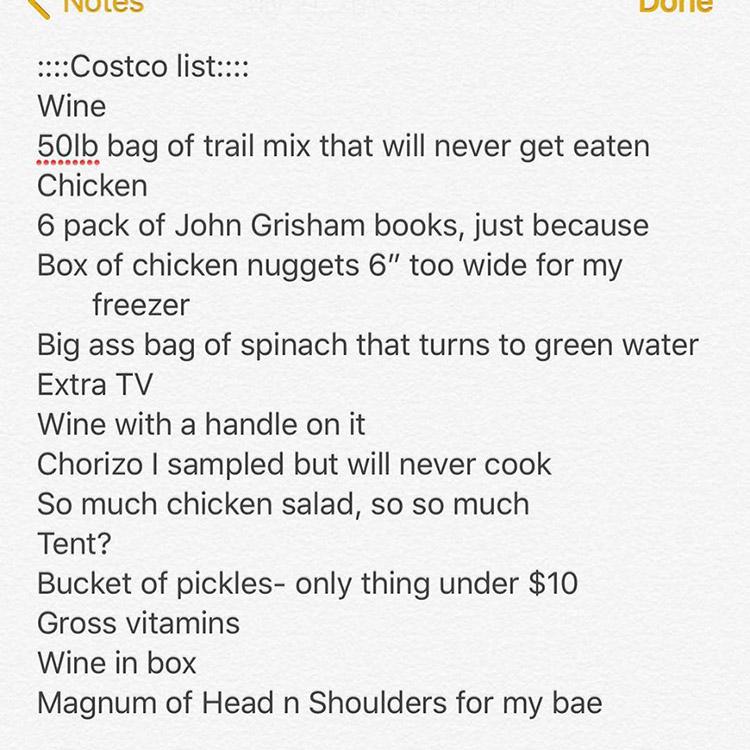 om funny costco list relatable