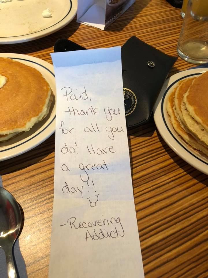recovering addict pays tab for EMTs at ihop