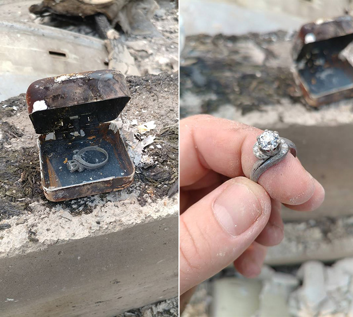 man finds grandmothers ring in ashes