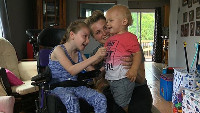 girl cerebral palsy saves brother from drowning Lexie Comeau-Drisdelle