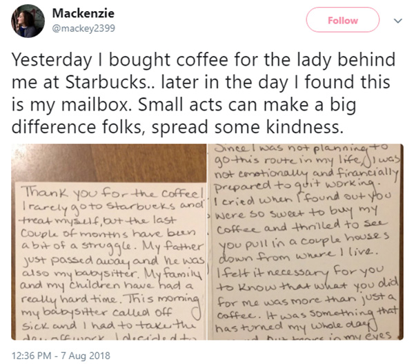 act of kindness starbucks