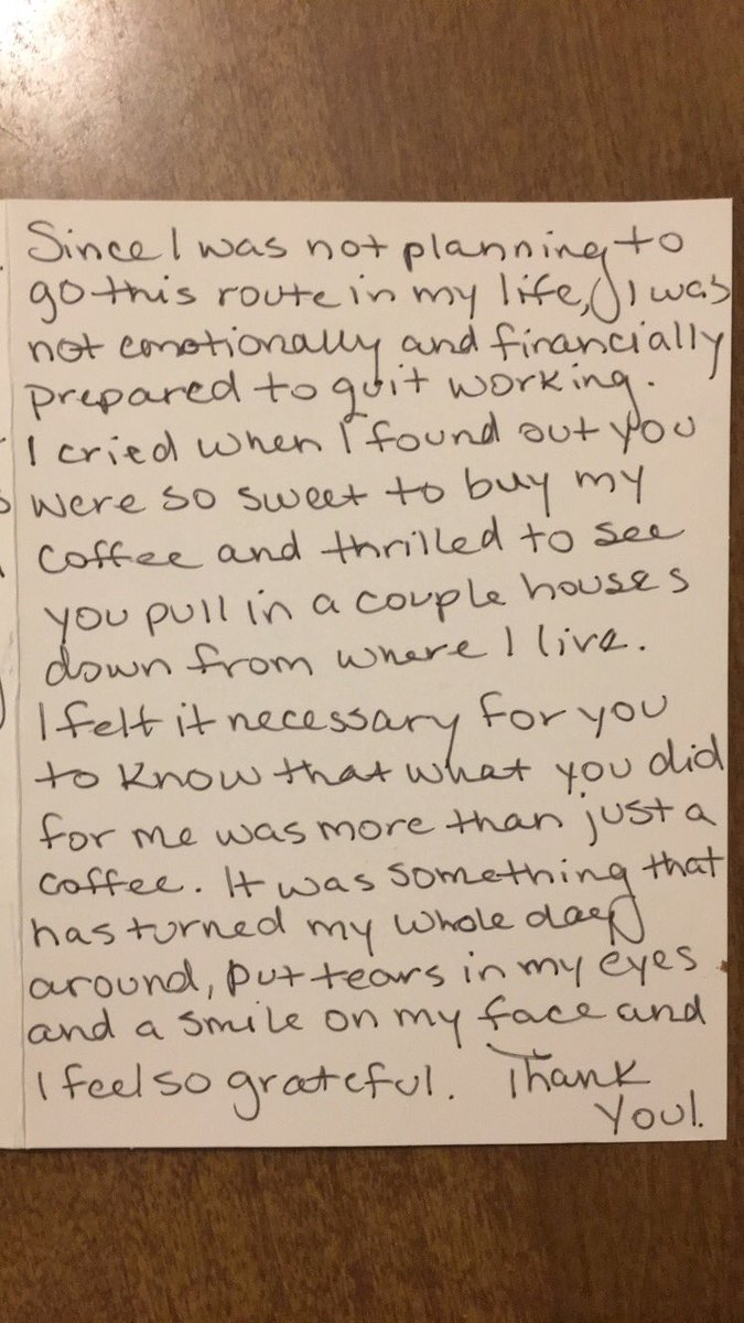 act of kindness Starbucks note