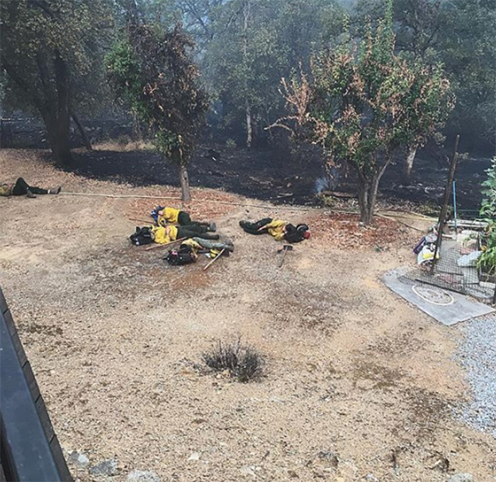 firefighters nap during Carr fire Redding