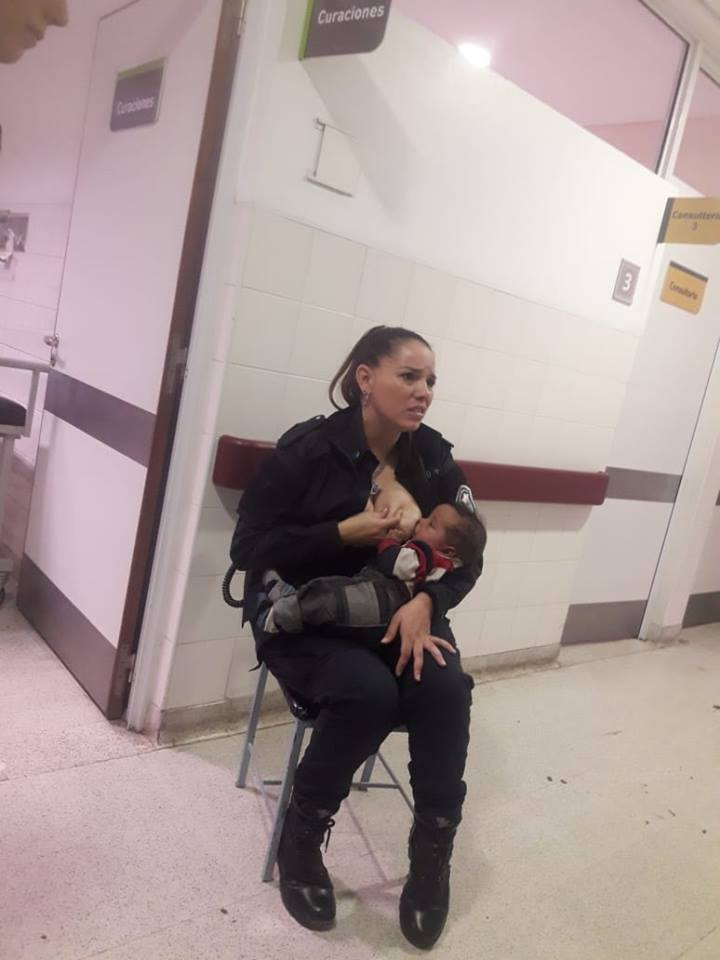 cop breastfeeds baby at hospital