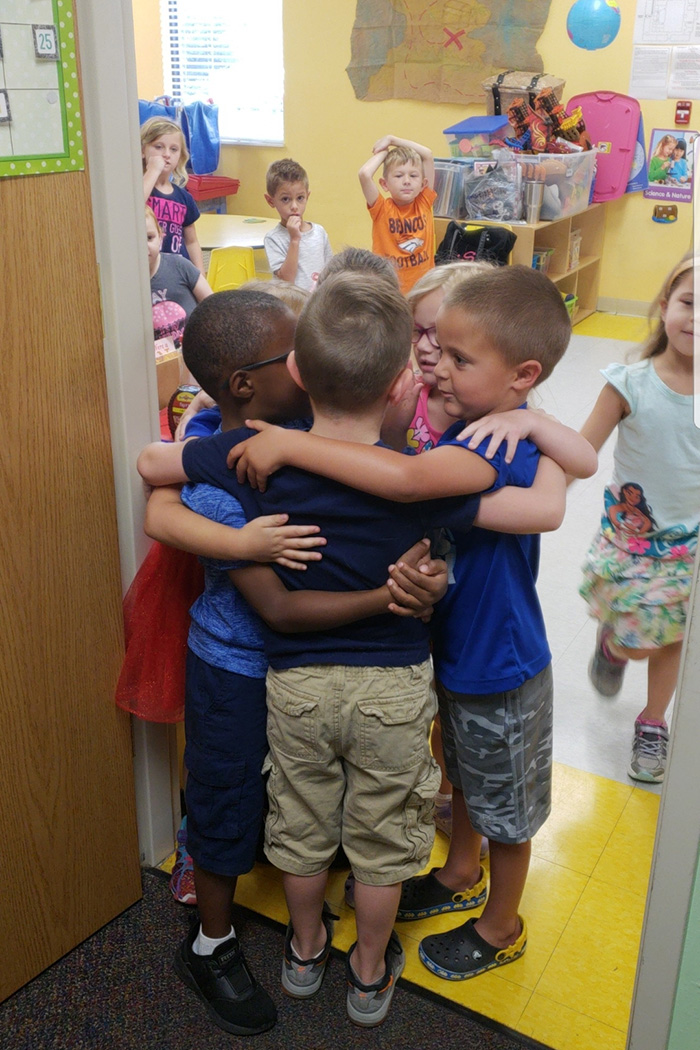 kids saying goodbye at day care