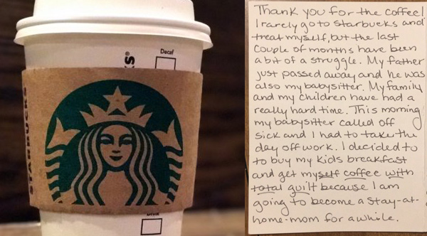 Woman Pays For Stranger's Coffee, Then Finds A Note In Her Mailbox