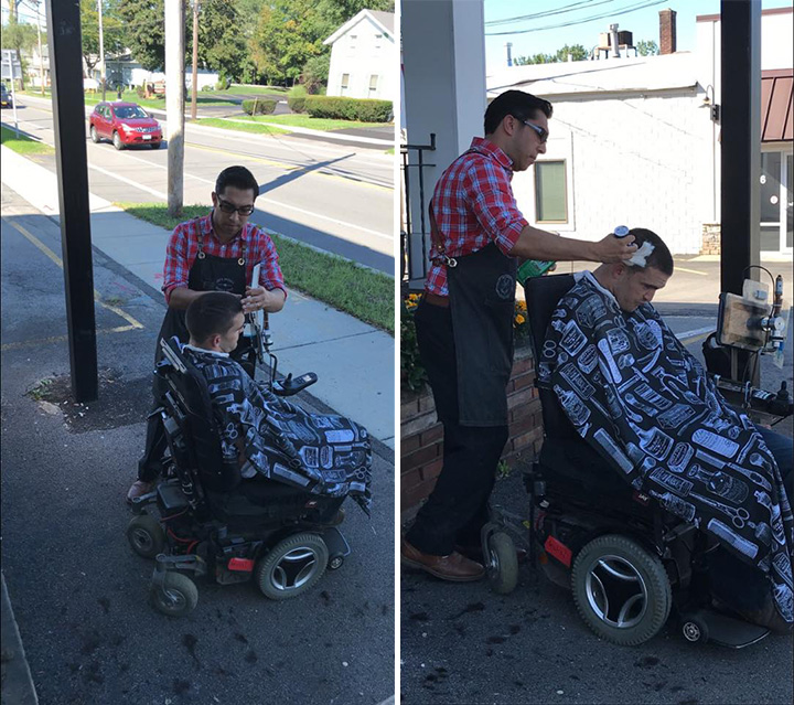 barber cuts mans hair outside in wheelchair