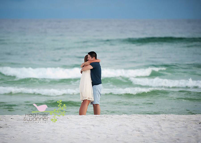 proposal captured on beach
