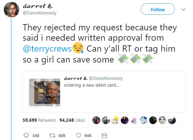 woman orders terry crews credit card