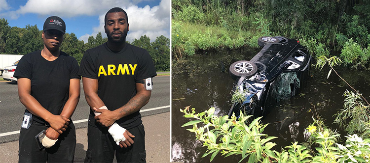 Siblings Lift Overturned SUV And Save Family With Newborn Trapped Inside Lpvht-car-in-water
