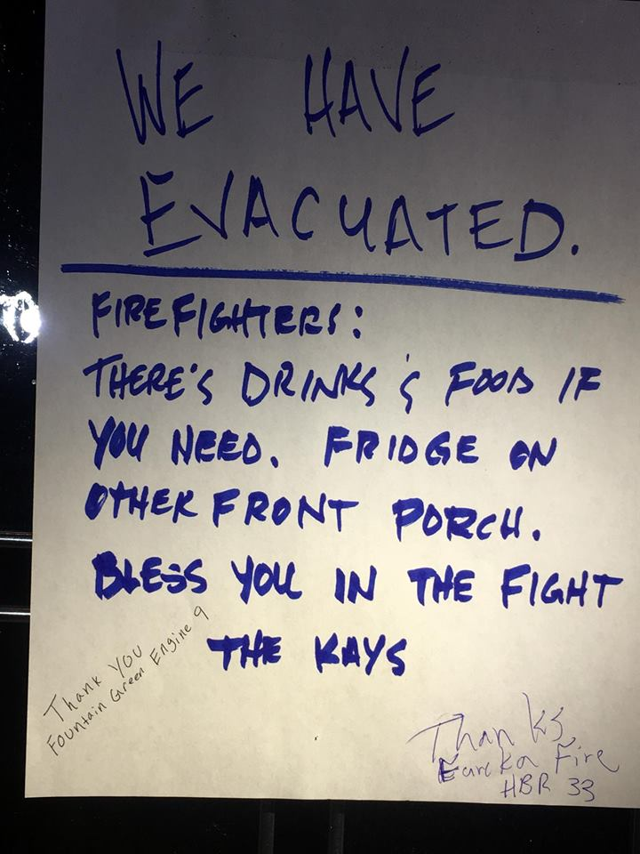 sign for firefighters drinks and food utah fires