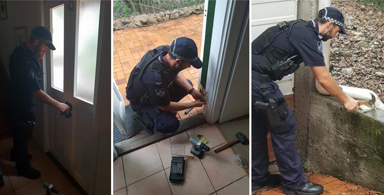 police help fix elderly womans door