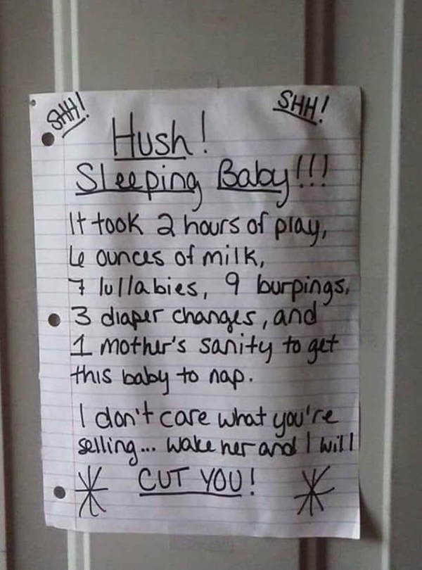 photo regarding Printable Baby Sleeping Sign Front Door titled 15 Hilarious Doorbell Notes Published As a result of Dad and mom With Sleeping