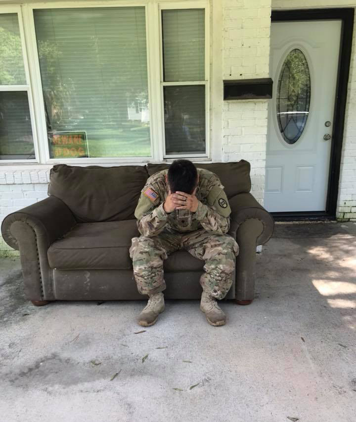 solider gives away money raised for him