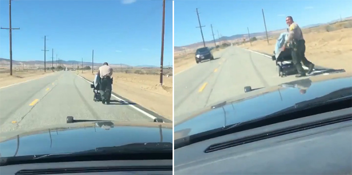 cop pushes wheelchair home for old woman