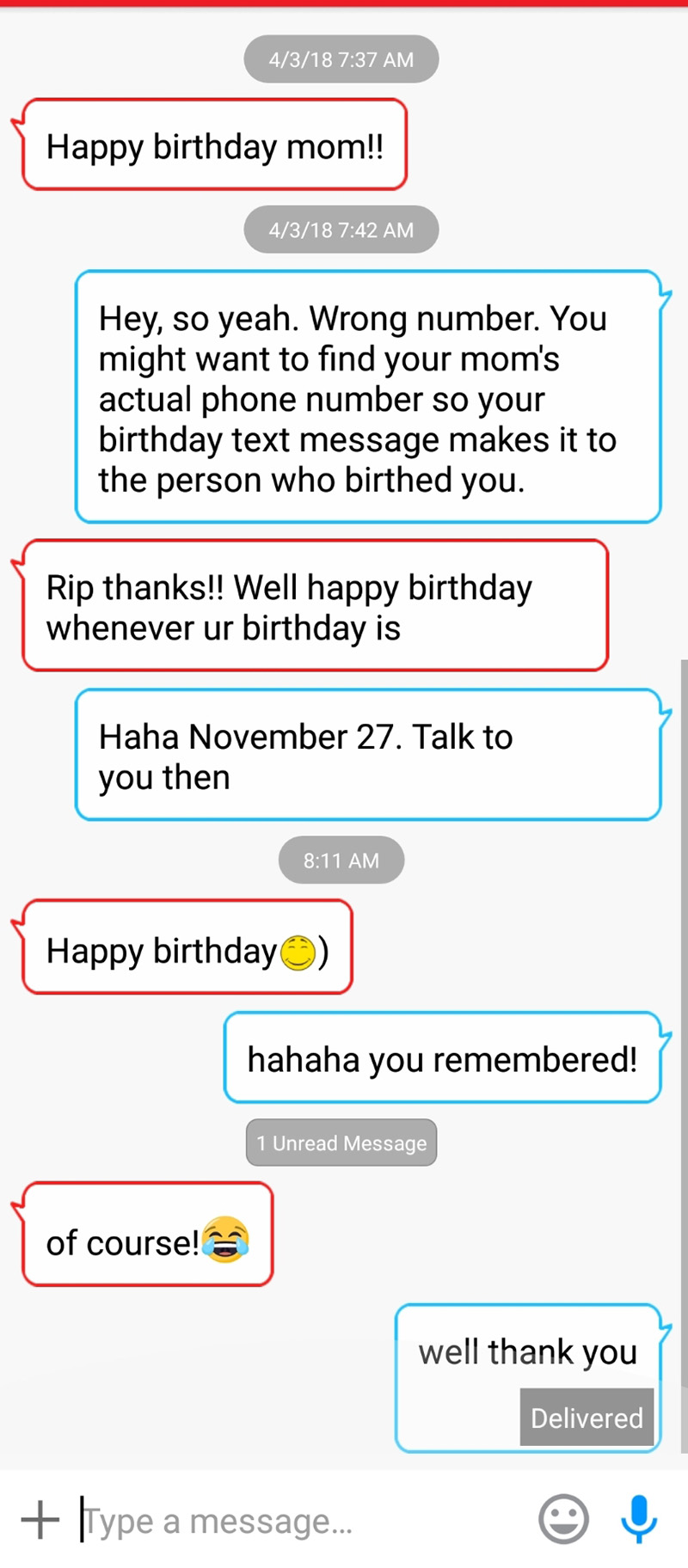 stranger wrong number remembers birthday