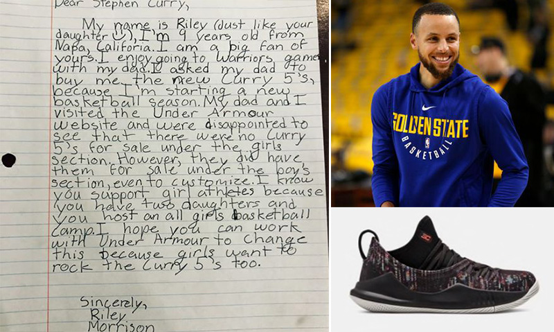 e9c18b8fb2ce Steph Curry Responds To Girl s Letter About Why His Shoes Do Not Come In  Girls Sizes