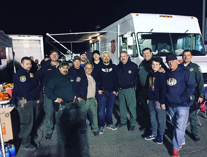 gui fieri cooks for firefighters