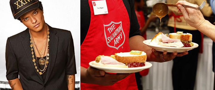 bruno mars donates 24k meals thanksgiving