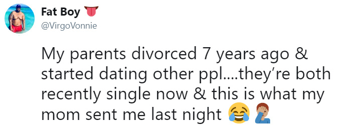 divorced parents kiss again text to son