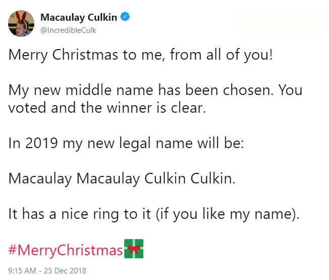 Macaulay Culkin middle name