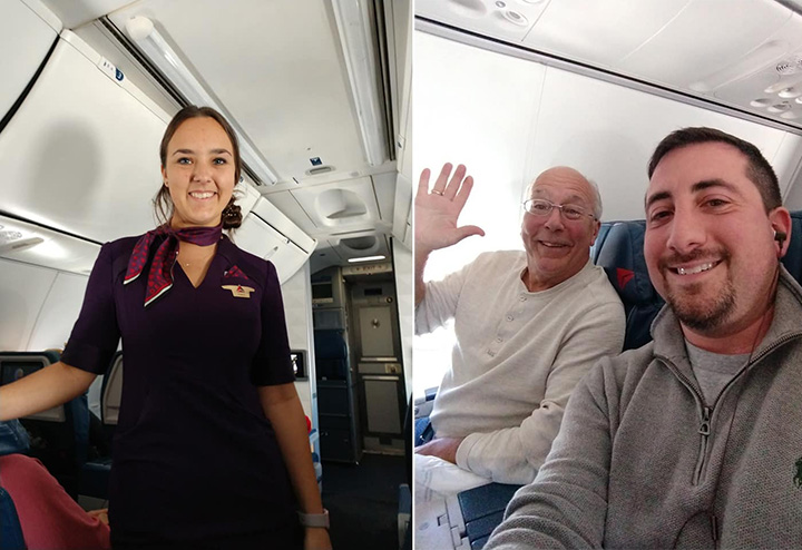 dad takes all flights with flight attendant daughter on Christmas