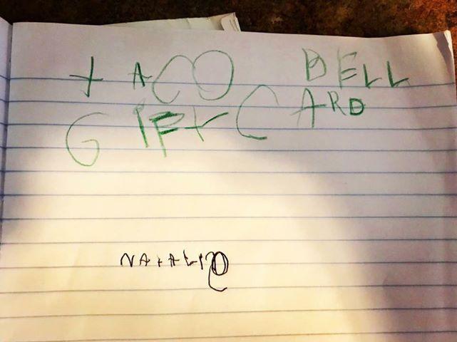 littl girl asks for taco bell gift card christmas