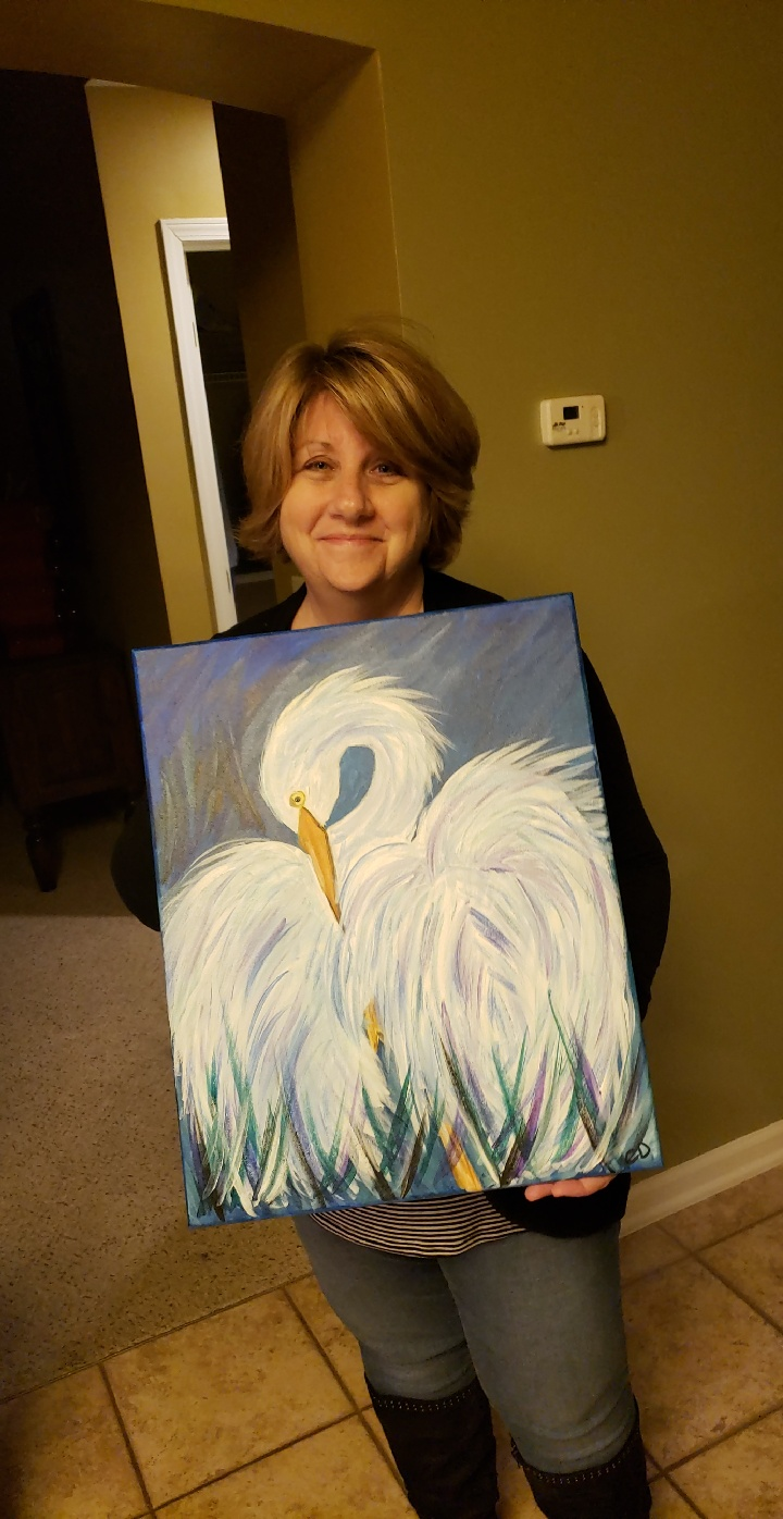 mom swan painting viral funny