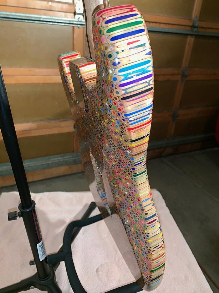 guitar made of color pencils