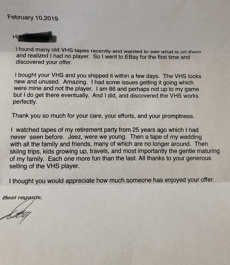 elderly man writes letter to vcr seller ebay