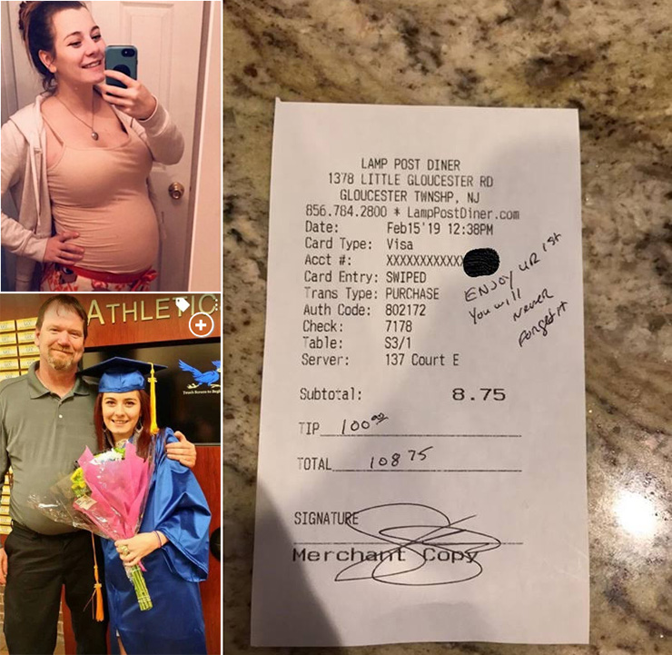 cop tips pregnant waitress 100 dollars