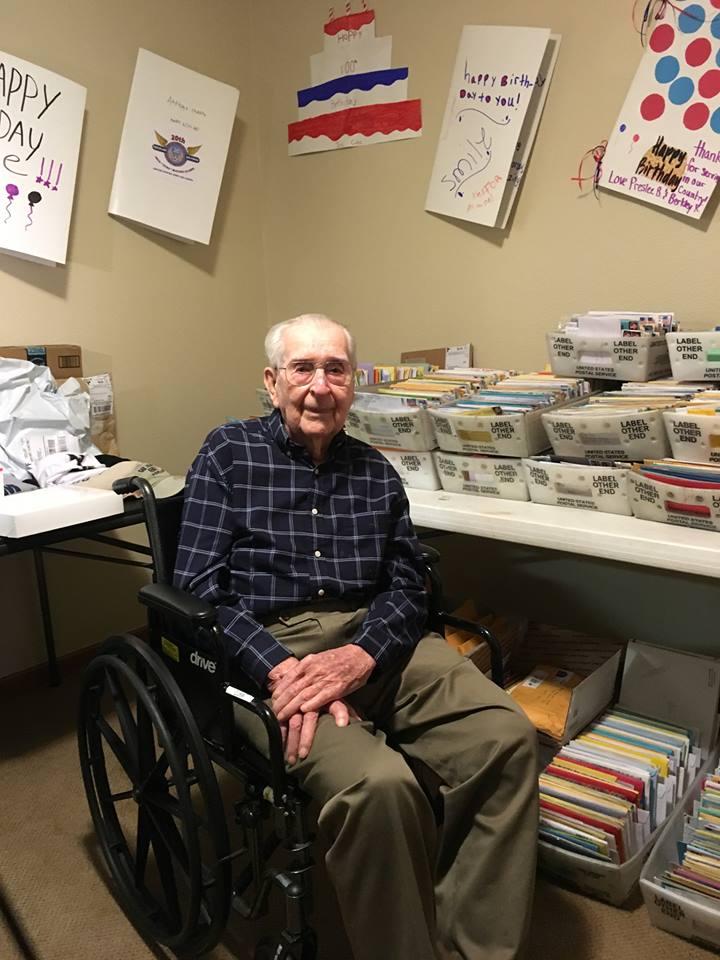 veteran turns 100 asks birthday cards