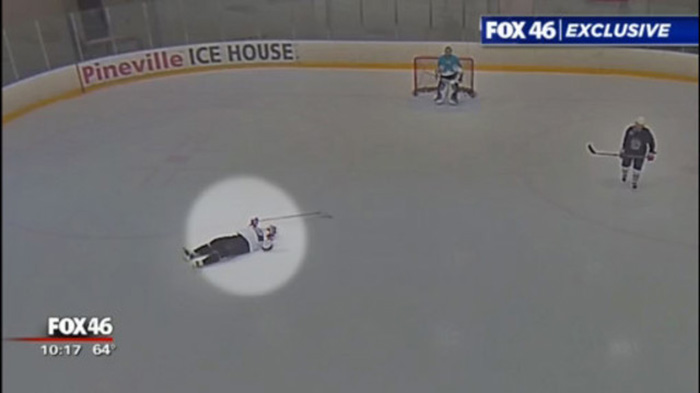 hockey player saved on ice