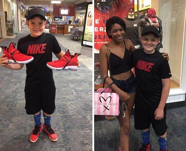woman buys kids basektball shoes