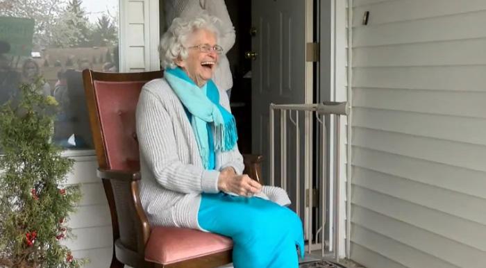 students wave final goodbye to grandma