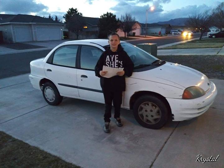 teen boy buys mom car