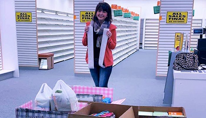 woman buys payless shoes donates them to flood victims