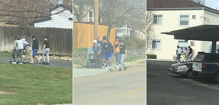 teens help elderly man