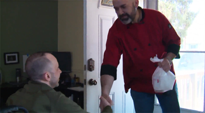chef delivers soup to man with MS