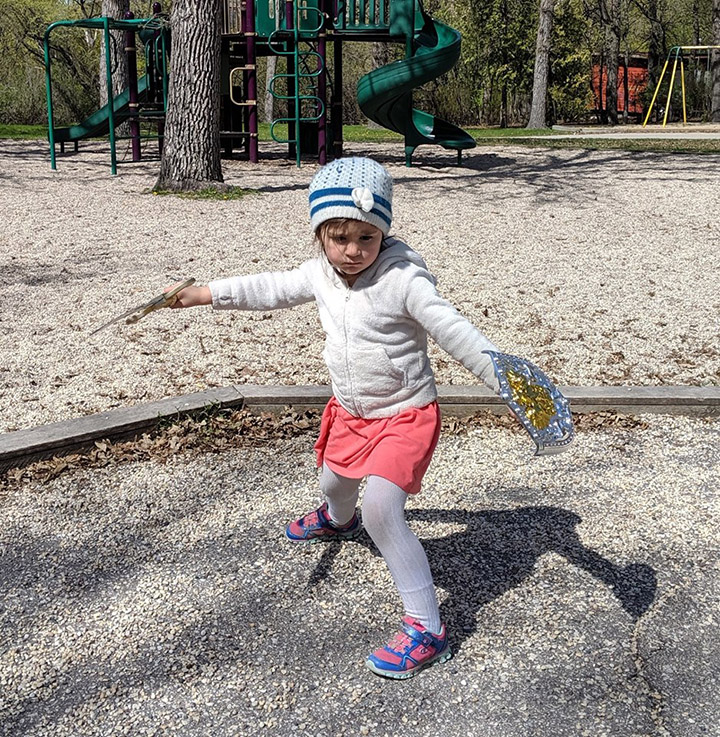 daughter takes sword to park instead of bike