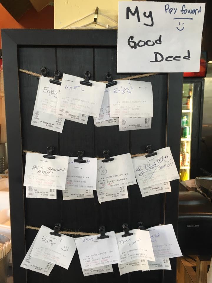 restaurant has pay it forward lunch board
