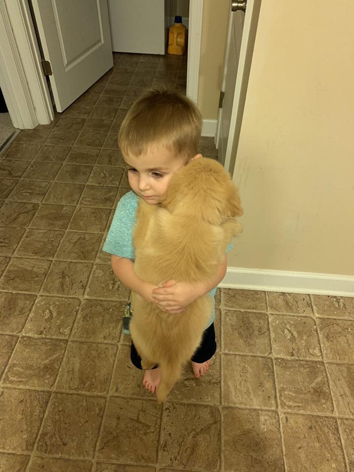 kid holding puppy