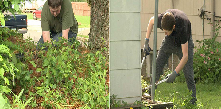 students do yard work for elderly PE credits