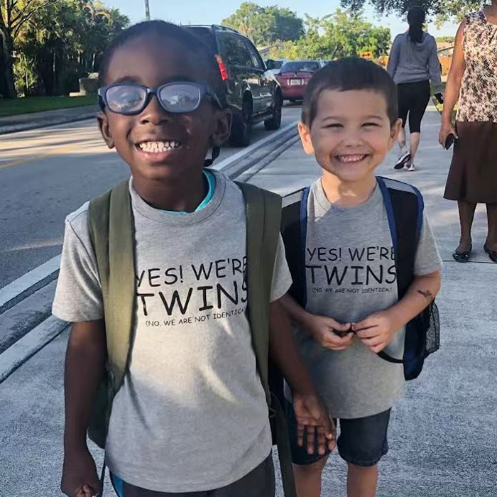 twins black and white boys