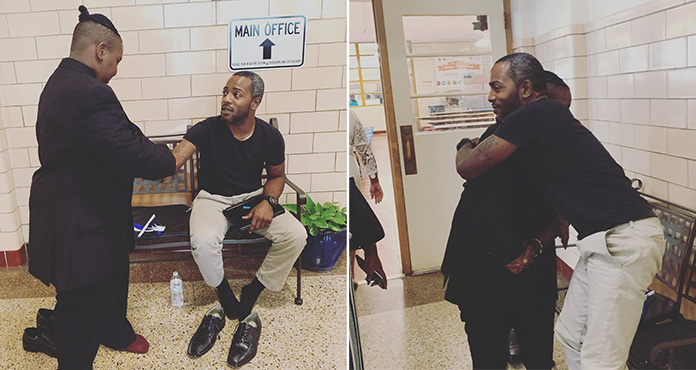 teacher gives student his shoes to graduate