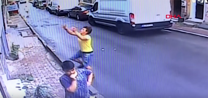 teen catches toddler falling from window